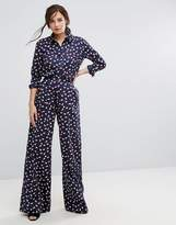 People Tree X V&A Organic Cotton Wide Leg Pants In Seed Print Co-Ord