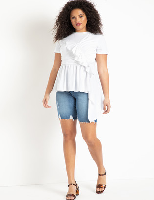 ELOQUII Denim Bermuda Shorts