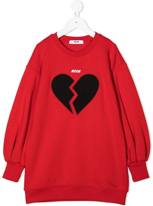 Msgm Kids Logo Heart Print Sweatshirt Dress