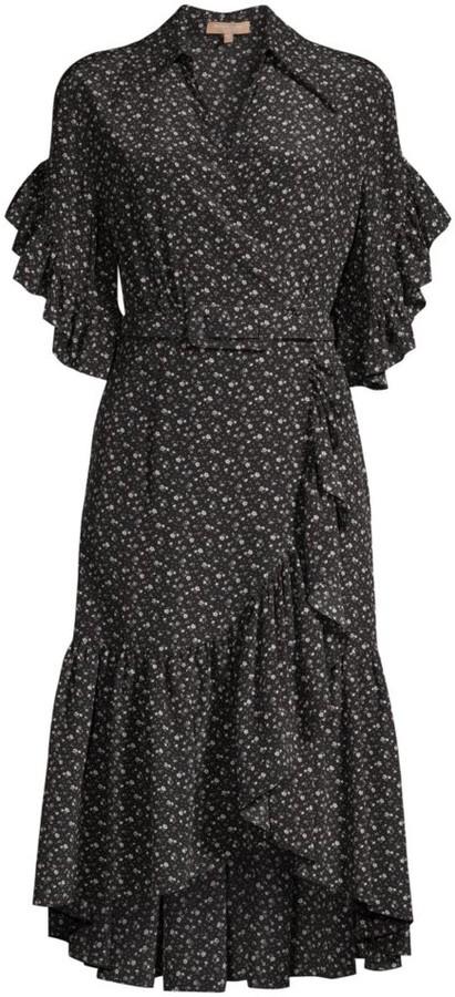 Michael Kors Belted Silk Ruffle Wrap Dress