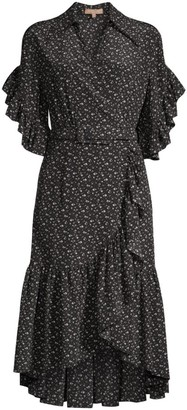 Michael Kors Belted Silk Ruffle Wrap Dress