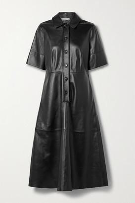 Co Paneled Leather Shirt Dress - Black