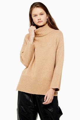 Topshop Camel Super Soft Funnel Neck Sweater