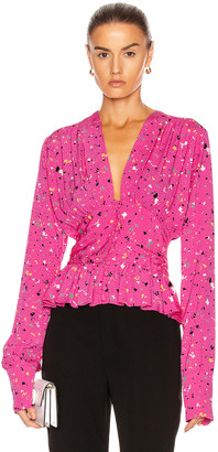 Rotate by Birger Christensen Tracy Top in Paint Splash Print | FWRD
