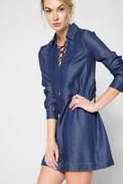 7 For All Mankind Long Sleeve Lace Up Denim Dress In Pacific Rinse