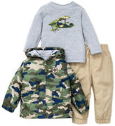 Little Me Baby Boys Three-Piece Camo Hooded Jacket, Flyer Graphic Tee and Pants Set