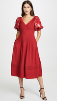 Self-Portrait Red Sequin Short Sleeve Midi Dress
