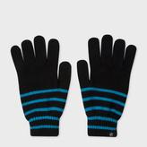 Paul Smith Men's Neon Blue Stripe Lambswool Gloves