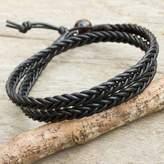 Mens Hand Braided Black Leather Wrap Bracelet, 'Double Ebony'