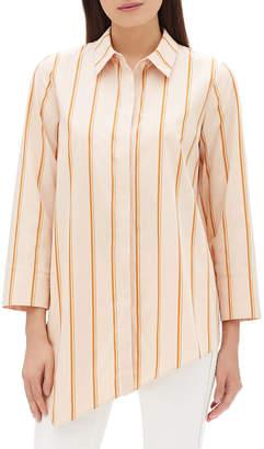 Lafayette 148 New York Rosamund Skylark Striped Cotton Blouse w/ Asymmetric Hem