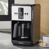 Crate & Barrel Krups Savoy Turbo 12-Cup Stainless Steel Coffee Maker with Glass Carafe