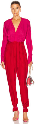 Equipment Zephrina Jumpsuit in Impala Lily & Haute Red | FWRD