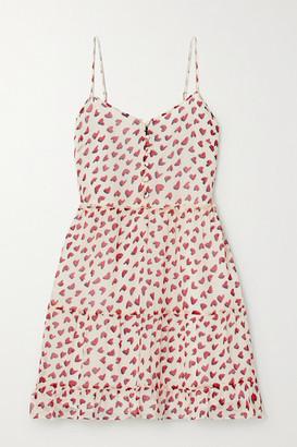 R 13 Printed Tiered Silk-chiffon Mini Dress - small