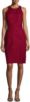 J. Mendel Sleeveless Floral-Print Sheath Dress, Maroon