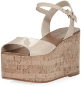 Etienne Aigner Sally Patent Platform Wedge Sandal, Nude