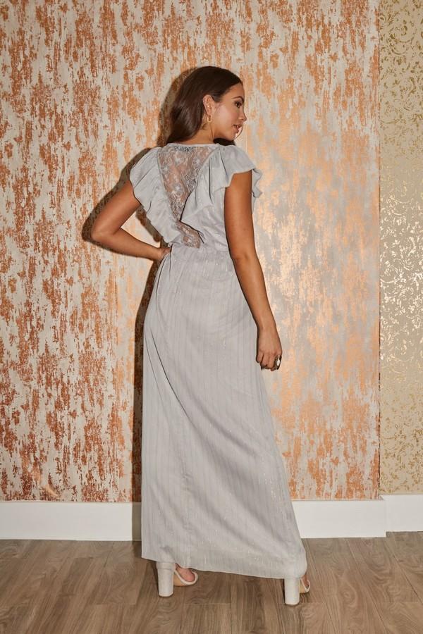 Thumbnail for your product : Little Mistress Tyler Grey Lurex Ruffle Maxi Dress
