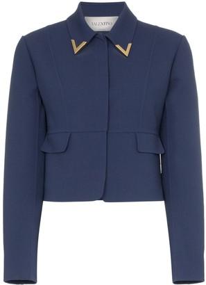 Valentino Garavani V collar wool cropped jacket