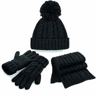 Joggaboms Good Quality Scarf Hat Glove Set- Adults Ladies Cable Knit Hat Cap Beanie- Soft Stretch Warm Thick Scarf- Comfy Thick Gloves Fashionable Knitted Matching 3 in 1 Gift Set (L/XL(Gloves)