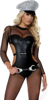 Forplay Women's Mesh Cop Catsuit with Metallic Cutout Contrast and Patches