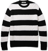 McQ Oversized Striped Cable-knit Wool Sweater - Navy