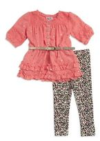 Little Lass Little Girl's Belted Tunic and Animal Print Leggings Set