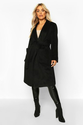 boohoo Plus Brushed Wool Look Belted Duster Coat