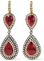 Amrapali 18-karat Gold, Silver, Ruby And Diamond Earrings