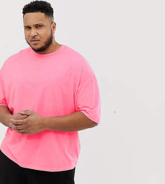Asos Design DESIGN Plus oversized t-shirt with half sleeve in washed neon pink
