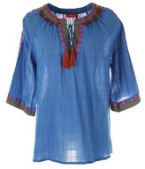 Rene Derhy Embroidered Cotton Blouse with Tassels