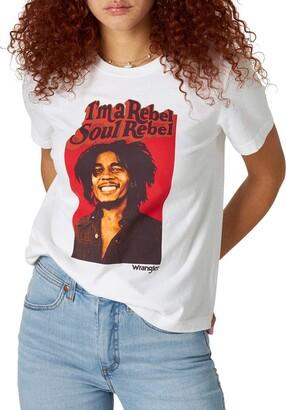Wrangler Women's Bob Marley Collaboration Short Sleeve Graphic T-Shirt