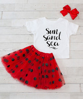 Dress Up Dreams Boutique Girls' Tee Shirts White/Red/Black - White & Red 'Sun Sand Sea' Crewneck Tee Set - Toddler & Girls
