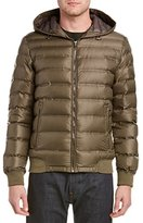 7 For All Mankind Men's Packable Down Moto Jacket with Laser Quilting
