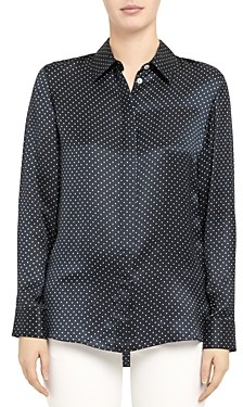 Theory Polka Dot Classic Fitted Shirt