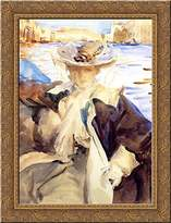 Art-Direct ArtDirect Jane de Glehn in a Gondola 20x24 Gold Ornate Wood Framed Canvas Art by Sargent, John Singer