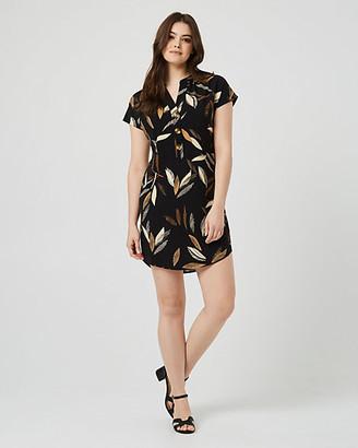 Le Château Leaf Print V-Neck Tunic Dress