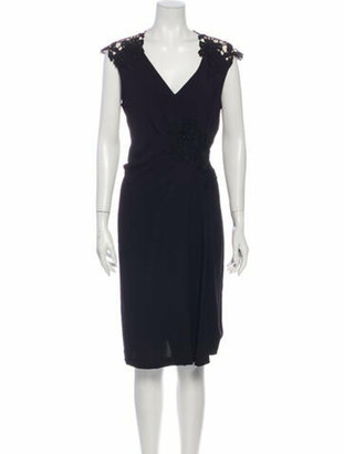 Valentino V-Neck Knee-Length Dress Black