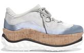 Miu Miu Satin, Mesh And Cork Platform Sneakers - Light gray