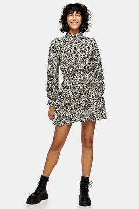 Topshop Black and White Pintuck Mini Dress