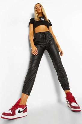 boohoo Leather Look Slim Fit Joggers