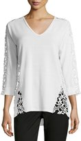 Magaschoni 3/4-Sleeve Lace-Inset Sweater, Blanc