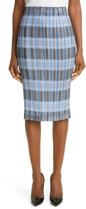 Burberry Check Plisse Pleat Skirt