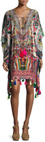 Camilla Printed Embellished Lace-Up Short Caftan Coverup, Multi