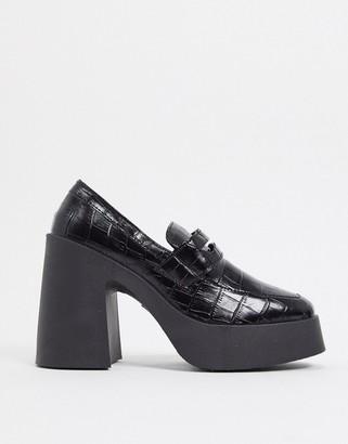ASOS DESIGN Profile chunky high heeled loafer in black croc