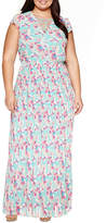 Boutique + Ashley Nell Tipton for + Sleeveless Laceup Maxi Dress-Plus