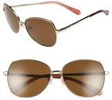 Kate Spade Women's 'Candida' 57Mm Polarized Aviator Sunglasses - Light Gold