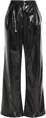 Ronny Kobo Dina Pleated Faux Patent-leather Wide-leg Pants