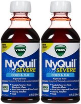 Vicks Severe Cold & Flu Nighttime Relief Berry Flavor Liquid, Twin Pack, 24 oz