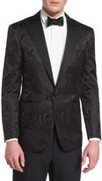 Ralph Lauren Tonal Art Deco Jacquard Tuxedo Jacket, Black