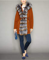 The Fur Vault Fox-Fur-Trim Hooded Belted Wool Coat