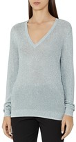 Reiss Estee Metallic V-Neck Sweater